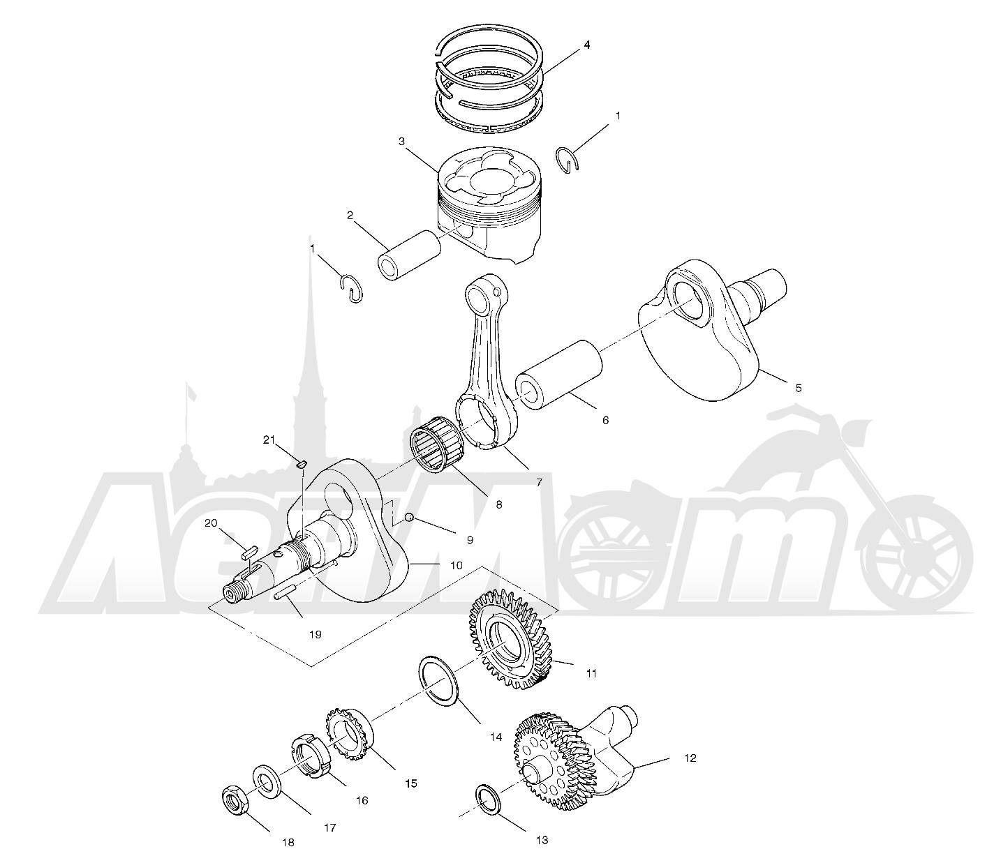 Запчасти для Квадроцикла Polaris 1997 SWEDISH SPORTSMAN 50 - S97CH50E Раздел: CRANKSHAFT AND PISTON - W97CH50A | коленвал и поршень W97CH50A