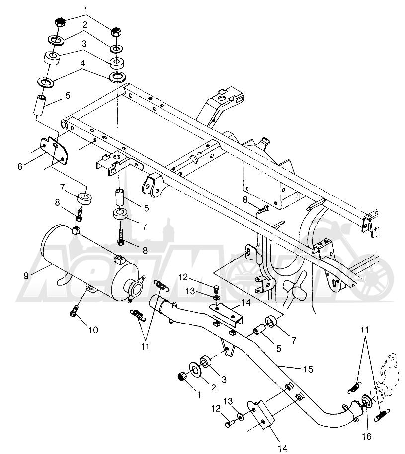 Запчасти для Квадроцикла Polaris 1997 SWEDISH SPORTSMAN 50 - S97CH50E Раздел: EXHAUST SYSTEM SPORTSMAN 500 W97CH50A | выпускная система SPORTSMAN 500 W97CH50A
