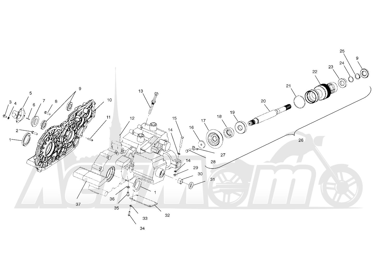 Запчасти для Квадроцикла Polaris 1997 SWEDISH SPORTSMAN 50 - S97CH50E Раздел: GEARCASE (CASES AND SNORKEL) - W97CH50A   коробка передач (CASES и шноркель) W97CH50A