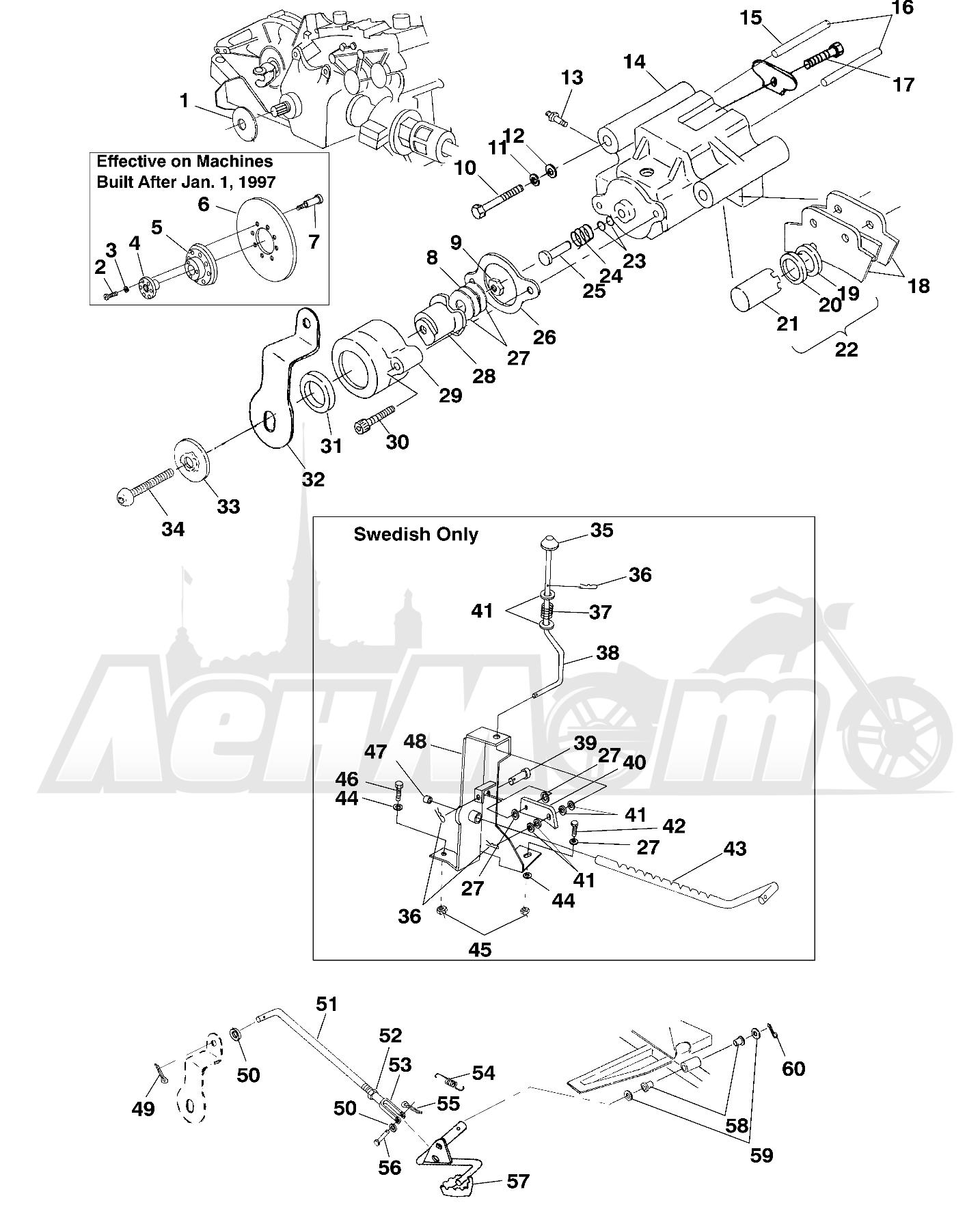 Запчасти для Квадроцикла Polaris 1997 SWEDISH SPORTSMAN 50 - S97CH50E Раздел: REAR BRAKE - W97CH50A | задний тормоз W97CH50A