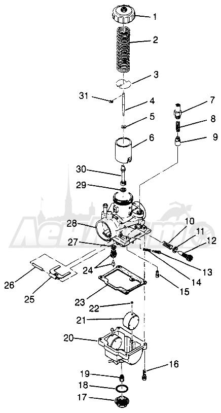 Запчасти для Квадроцикла Polaris 1997 TRAIL BLAZER - W97BA25C Раздел: CARBURETOR (SPORT) SPORT 400L W97BA38C   карбюратор (спорт) спорт 400L W97BA38C