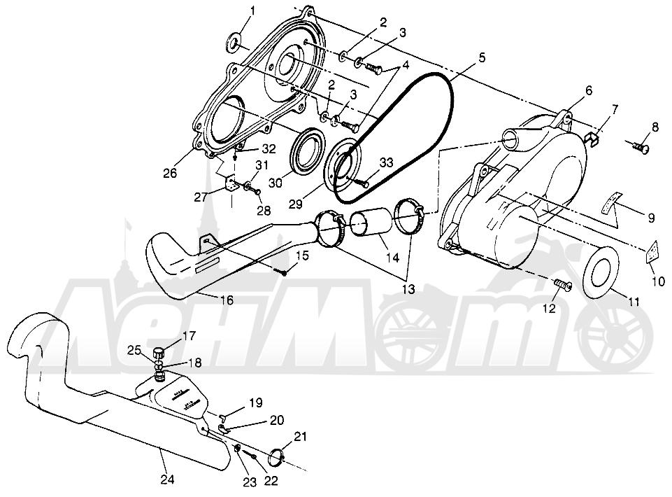 Запчасти для Квадроцикла Polaris 1997 TRAIL BLAZER - W97BA25C Раздел: CLUTCH COVER (SPORT) SPORT 400L W97BA38C | сцепление крышка (спорт) спорт 400L W97BA38C