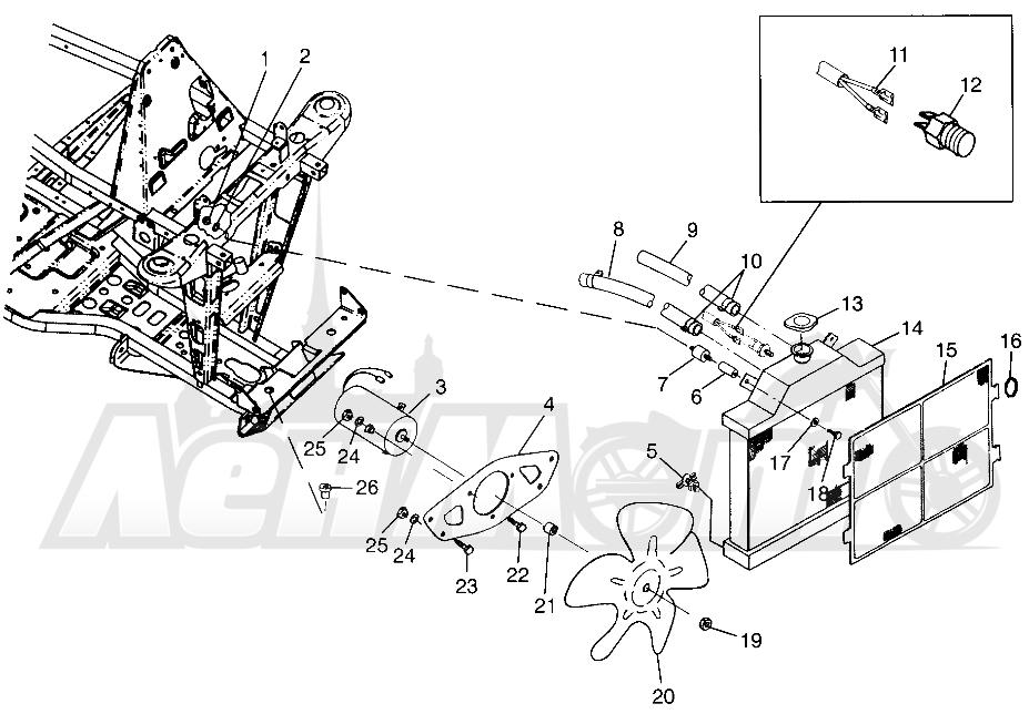 Запчасти для Квадроцикла Polaris 1997 TRAIL BLAZER - W97BA25C Раздел: COOLING SYSTEM (SPORT) SPORT 400L W97BA38C | система охлаждения (спорт) спорт 400L W97BA38C