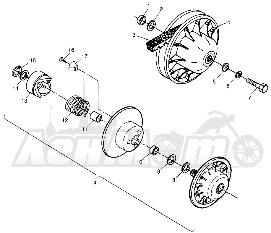 Запчасти для Квадроцикла Polaris 1997 TRAIL BLAZER - W97BA25C Раздел: DRIVEN CLUTCH SPORT 400L W97BA38C AND TRAIL BLAZER W97BA25C | ведомый вариатор спорт 400L W97BA38C и TRAIL BLAZER W97BA25C