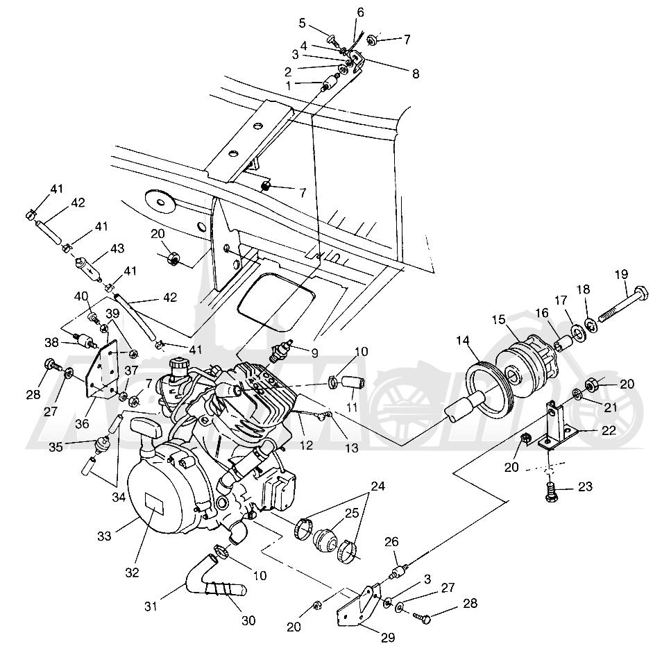 Запчасти для Квадроцикла Polaris 1997 TRAIL BLAZER - W97BA25C Раздел: ENGINE MOUNTING (SPORT) SPORT 400L W97BA38C   двигатель крепления (спорт) спорт 400L W97BA38C