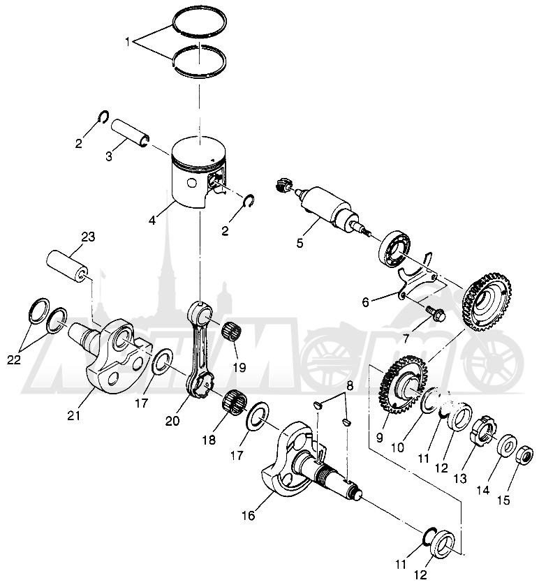 Запчасти для Квадроцикла Polaris 1997 TRAIL BLAZER - W97BA25C Раздел: PISTON AND CRANKSHAFT (SPORT) SPORT 400L W97BA38C | поршень и коленвал (спорт) спорт 400L W97BA38C