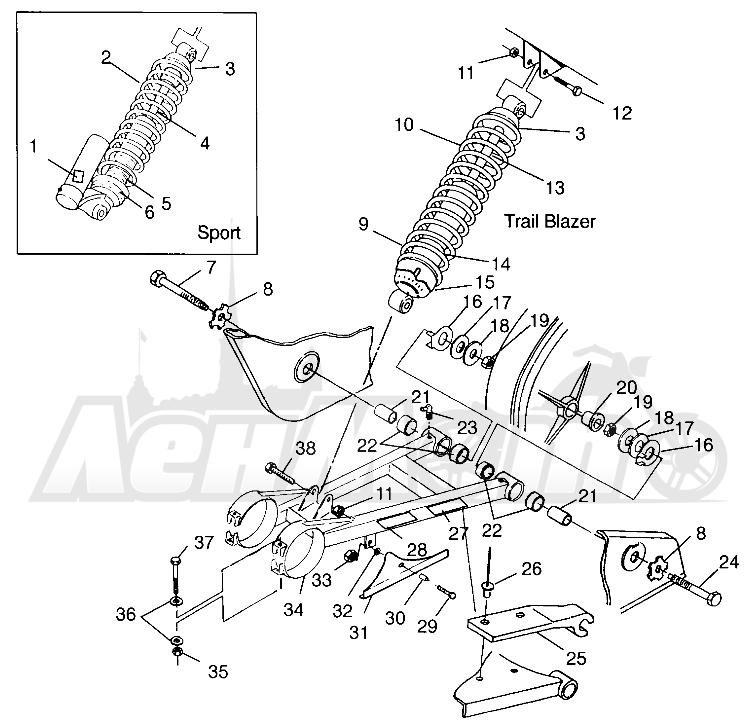 Запчасти для Квадроцикла Polaris 1997 TRAIL BLAZER - W97BA25C Раздел: SWING ARM/SHOCK MOUNTING SPORT 400L W97BA38C AND TRAIL BLAZER W97BA25C   маятник/амортизатор крепления спорт 400L W97BA38C и TRAIL BLAZER W97BA25C