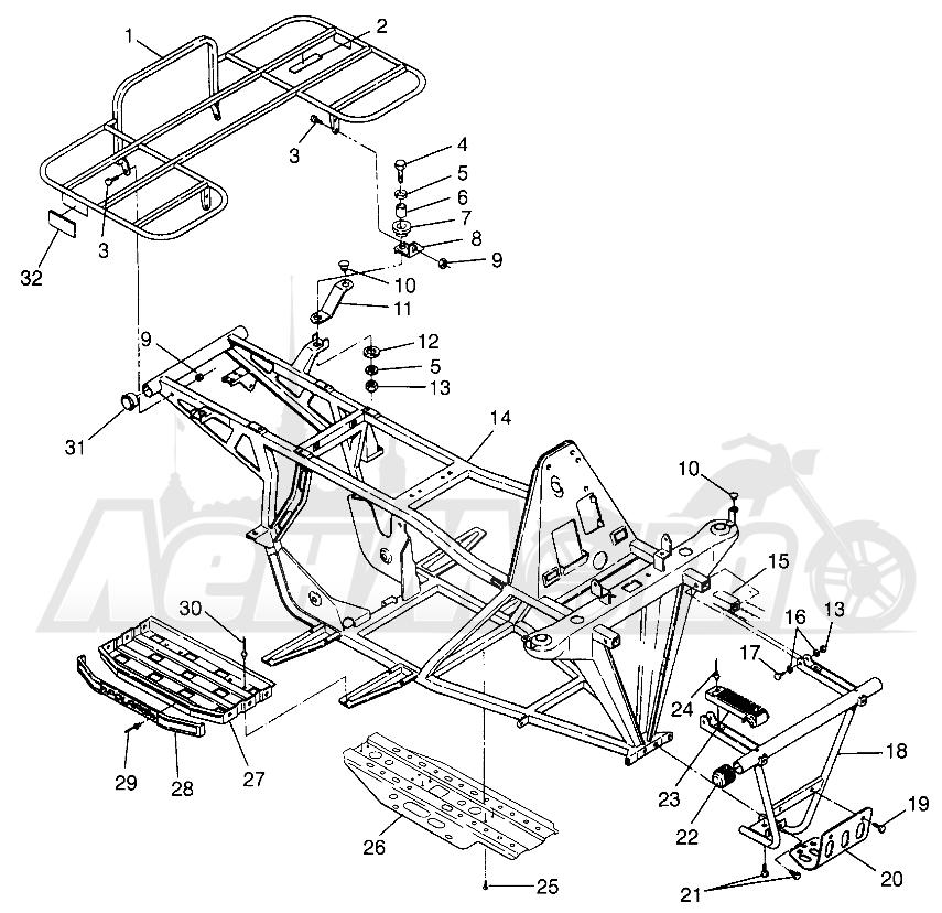 Запчасти для Квадроцикла Polaris 1997 TRAIL BOSS - W97AA25C Раздел: BUMPER AND RACK MOUNTING TRAIL BOSS W97AA25C | бампер и багажник крепления TRAIL BOSS W97AA25C