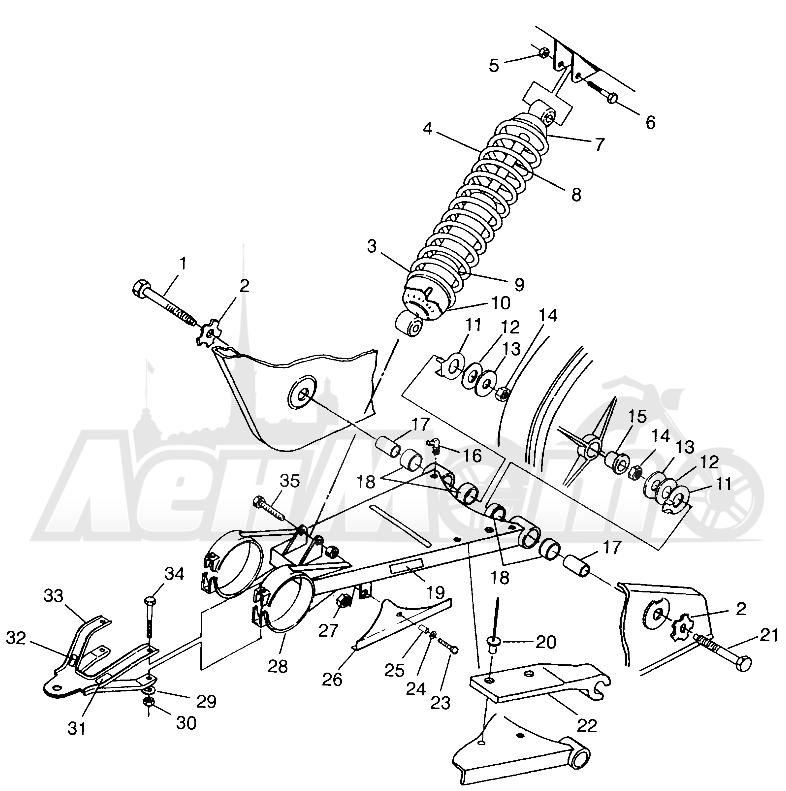 Запчасти для Квадроцикла Polaris 1997 TRAIL BOSS - W97AA25C Раздел: SWING ARM/SHOCK MOUNTING TRAIL BOSS W97AA25C   маятник/амортизатор крепления TRAIL BOSS W97AA25C