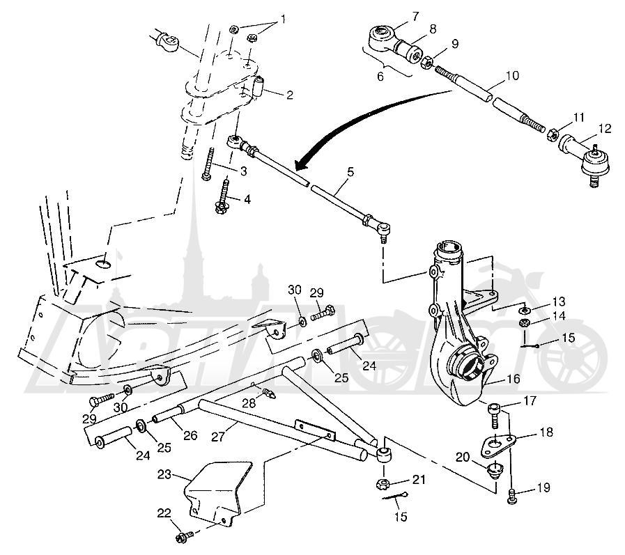 Запчасти для Квадроцикла Polaris 1997 XPLORER 300 - W97CC28C Раздел: A - ARM/STRUT MOUNTING XPLORER 300 W97CC28C | A рычаг/стойка крепления XPLORER 300 W97CC28C