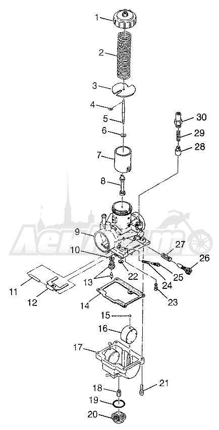 Запчасти для Квадроцикла Polaris 1997 XPLORER 300 - W97CC28C Раздел: CARBURETOR XPLORER 300 W97CC28C   карбюратор XPLORER 300 W97CC28C
