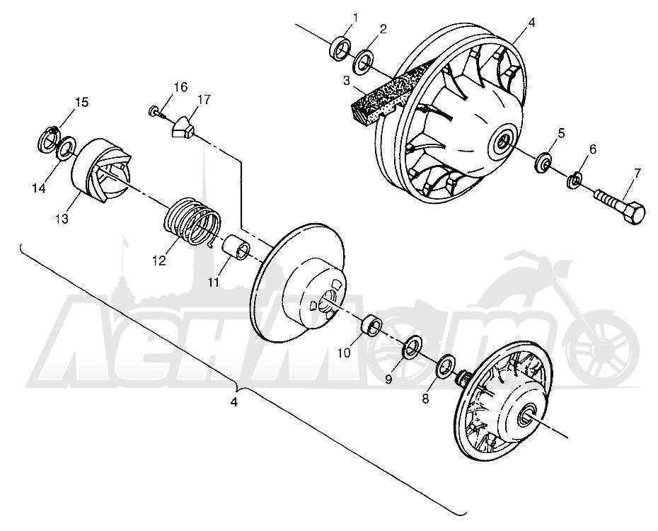 Запчасти для Квадроцикла Polaris 1997 XPLORER 300 - W97CC28C Раздел: DRIVEN CLUTCH XPLORER 300 W97CC28C | ведомый вариатор XPLORER 300 W97CC28C