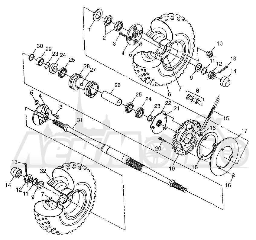 Запчасти для Квадроцикла Polaris 1997 XPLORER 300 - W97CC28C Раздел: REAR WHEEL DRIVE XPLORER 300 W97CC28C | заднее колесо привод XPLORER 300 W97CC28C