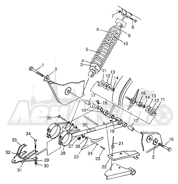 Запчасти для Квадроцикла Polaris 1997 XPLORER 300 - W97CC28C Раздел: SWING ARM/SHOCK MOUNTING XPLORER 300 W97CC28C | маятник/амортизатор крепления XPLORER 300 W97CC28C