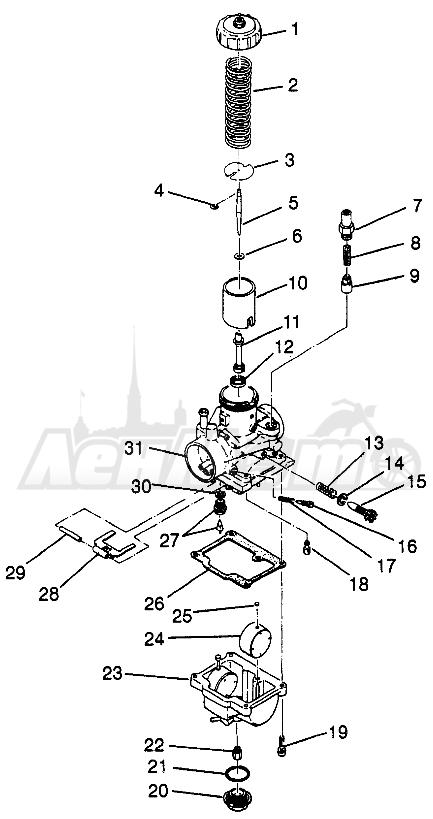 Запчасти для Квадроцикла Polaris 1997 XPLORER 400L - W97CC38C Раздел: CARBURETOR XPLORER 400L W97CC38C   карбюратор XPLORER 400L W97CC38C