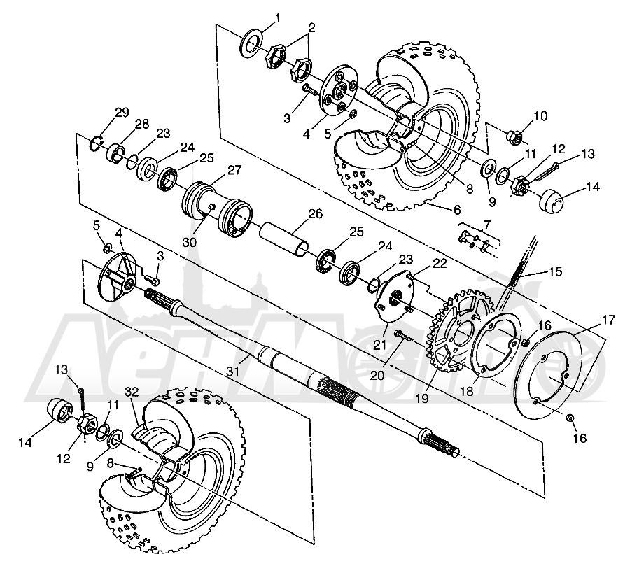 Запчасти для Квадроцикла Polaris 1997 XPLORER 400L - W97CC38C Раздел: REAR WHEEL DRIVE XPLORER 400L W97CC38C | заднее колесо привод XPLORER 400L W97CC38C