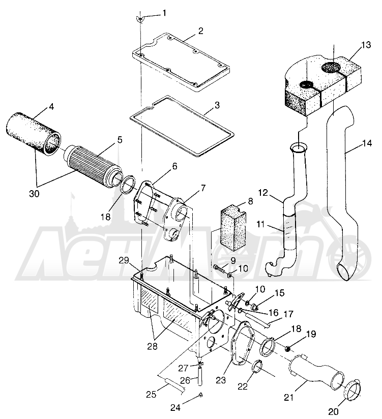 Запчасти для Квадроцикла Polaris 1997 XPLORER 500 - W97CD50A Раздел: AIR BOX - W97CD50A | воздух короб W97CD50A
