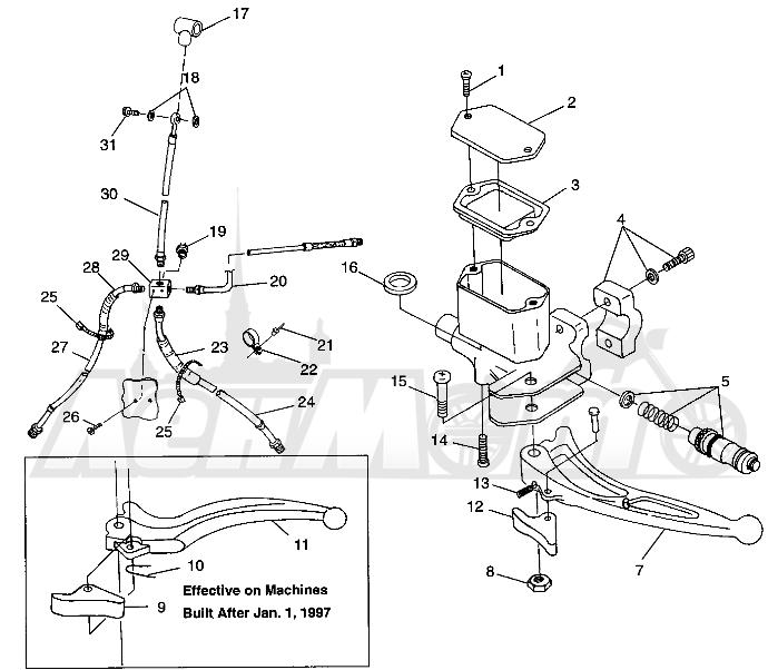 Запчасти для Квадроцикла Polaris 1997 XPLORER 500 - W97CD50A Раздел: CONTROLS - MASTER CYLINDER/BRAKE LINE - W97CD50A | органы управления главный цилиндр/тормозной шланг W97CD50A