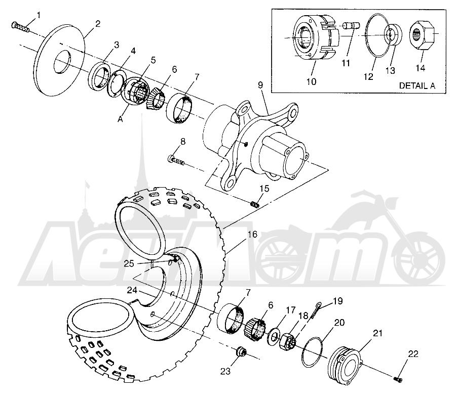Запчасти для Квадроцикла Polaris 1997 XPLORER 500 - W97CD50A Раздел: FRONT WHEEL - W97CD50A   переднее колесо W97CD50A