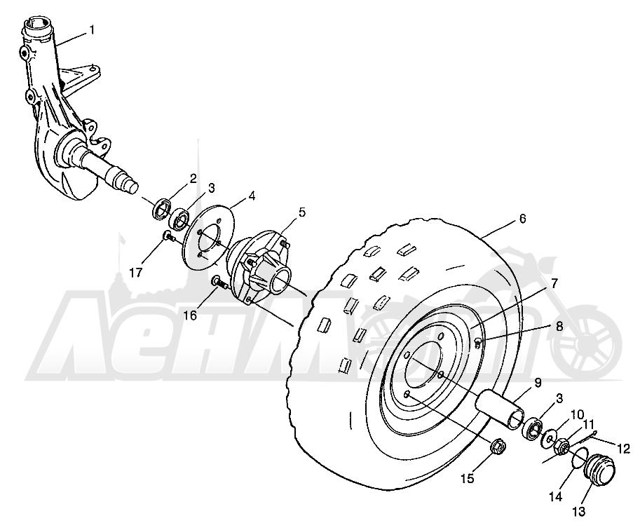 Запчасти для Квадроцикла Polaris 1997 XPRESS 300 - W97CA28C Раздел: FRONT WHEEL XPRESS 300 W97CA28C AND XPRESS 400L W97CA38C | переднее колесо XPRESS 300 W97CA28C и XPRESS 400L W97CA38C