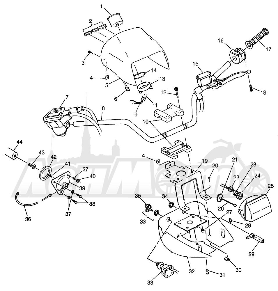 Запчасти для Квадроцикла Polaris 1997 XPRESS 300 - W97CA28C Раздел: HANDLEBAR AND HEADLIGHT POD (400L) XPRESS 400L W97CA38C | руль и передняя фара POD (400L) XPRESS 400L W97CA38C