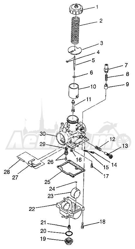 Запчасти для Квадроцикла Polaris 1997 XPRESS 400 - W97CA38C Раздел: CARBURETOR (300) XPRESS 300 W97CA28C | карбюратор (300) XPRESS 300 W97CA28C