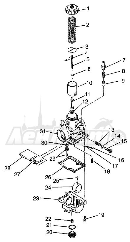Запчасти для Квадроцикла Polaris 1997 XPRESS 400 - W97CA38C Раздел: CARBURETOR (400L) XPRESS 400L W97CA38C | карбюратор (400L) XPRESS 400L W97CA38C