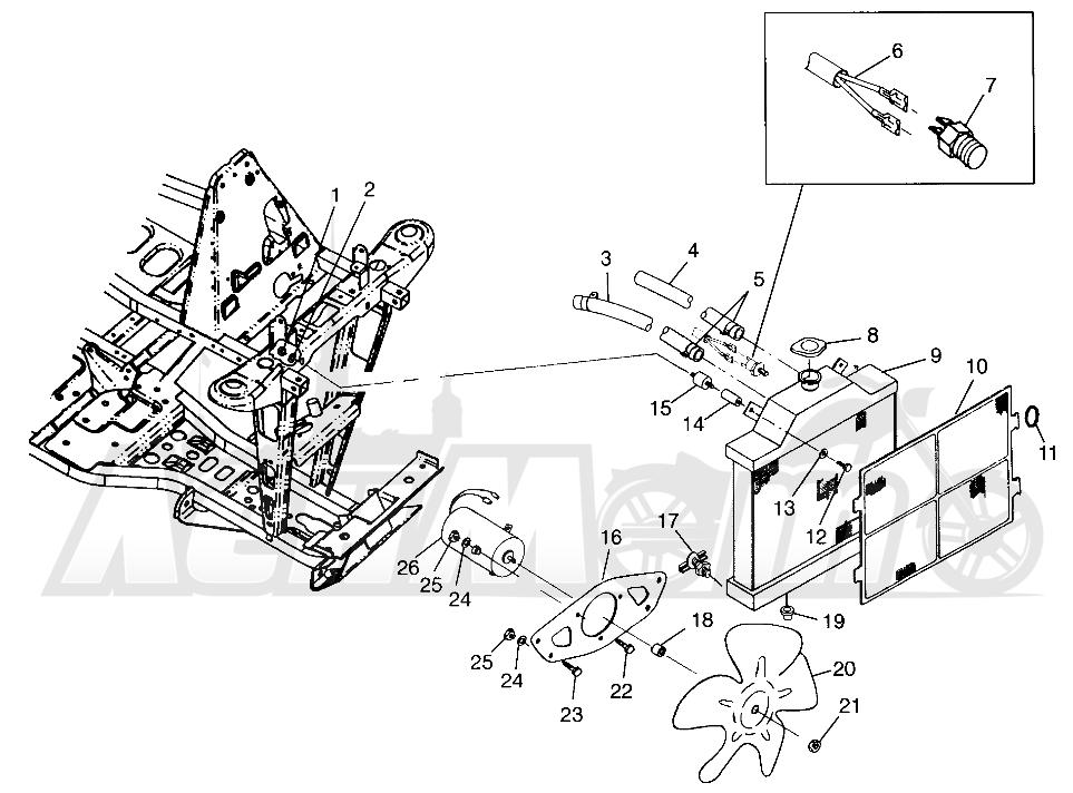 Запчасти для Квадроцикла Polaris 1997 XPRESS 400 - W97CA38C Раздел: COOLING SYSTEM (400L) XPRESS 400L W97CA38C | система охлаждения (400L) XPRESS 400L W97CA38C