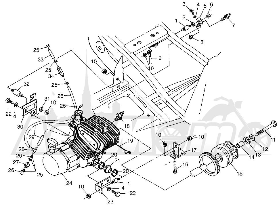 Запчасти для Квадроцикла Polaris 1997 XPRESS 400 - W97CA38C Раздел: ENGINE MOUNTING (300) XPRESS 300 W97CA28C   двигатель крепления (300) XPRESS 300 W97CA28C