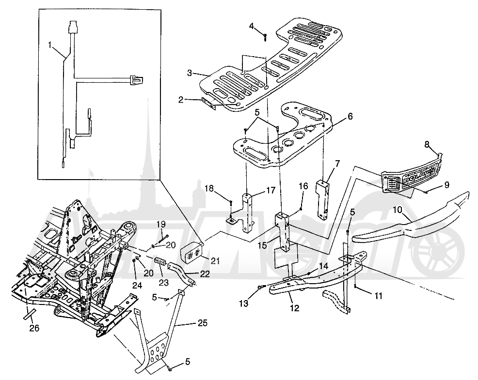 Запчасти для Квадроцикла Polaris 1997 XPRESS 400 - W97CA38C Раздел: FRONT RACK AND BUMPER MOUNTING (300) XPRESS 300 W97CA28C | перед багажник и бампер крепления (300) XPRESS 300 W97CA28C