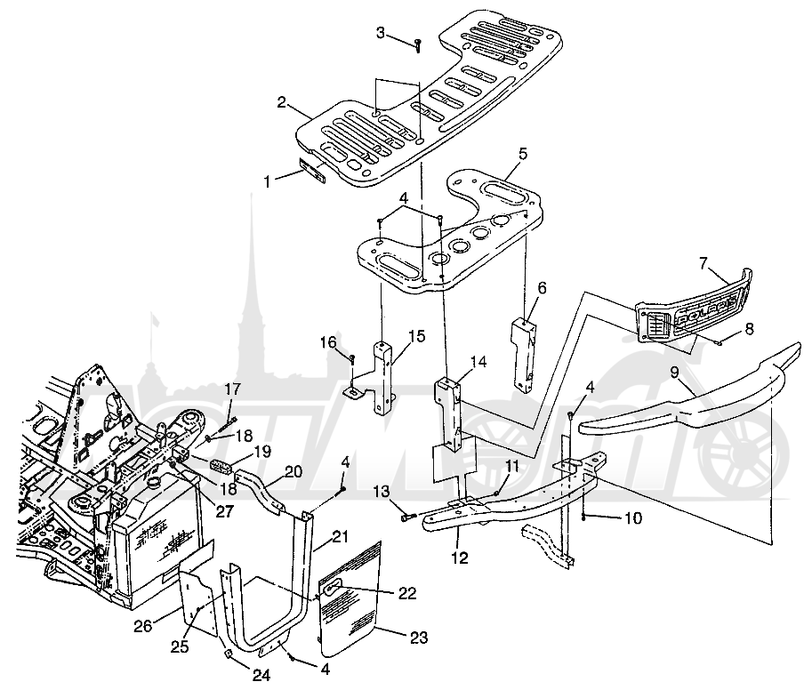 Запчасти для Квадроцикла Polaris 1997 XPRESS 400 - W97CA38C Раздел: FRONT RACK AND BUMPER MOUNTING (400L) XPRESS 400L W97CA38C | перед багажник и бампер крепления (400L) XPRESS 400L W97CA38C