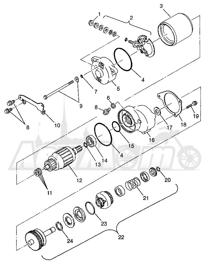 Запчасти для Квадроцикла Polaris 1997 XPRESS 400 - W97CA38C Раздел: STARTING MOTOR (400L) XPRESS 400L W97CA38C   электростартер (400L) XPRESS 400L W97CA38C