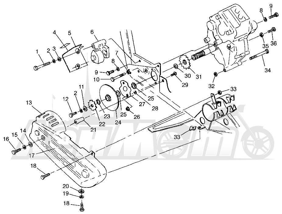 Запчасти для Квадроцикла Polaris 1996 400L 6X6 - W968740 Раздел: GEARCASE/BRAKE AND CHAIN COVER MOUNTING 6X6 400L W968740 AND 6X6 400L NORWE | коробка передач/тормоза и цепь крышка крепления 6X6 400L W968740 и 6X6 400L NORWE