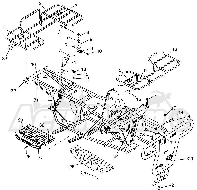 Запчасти для Квадроцикла Polaris 1996 MAGNUM 2X4 - W967544 Раздел: BUMPER/RACK MOUNTING MAGNUM 2X4 W967544   бампер/багажник крепления MAGNUM 2X4 W967544
