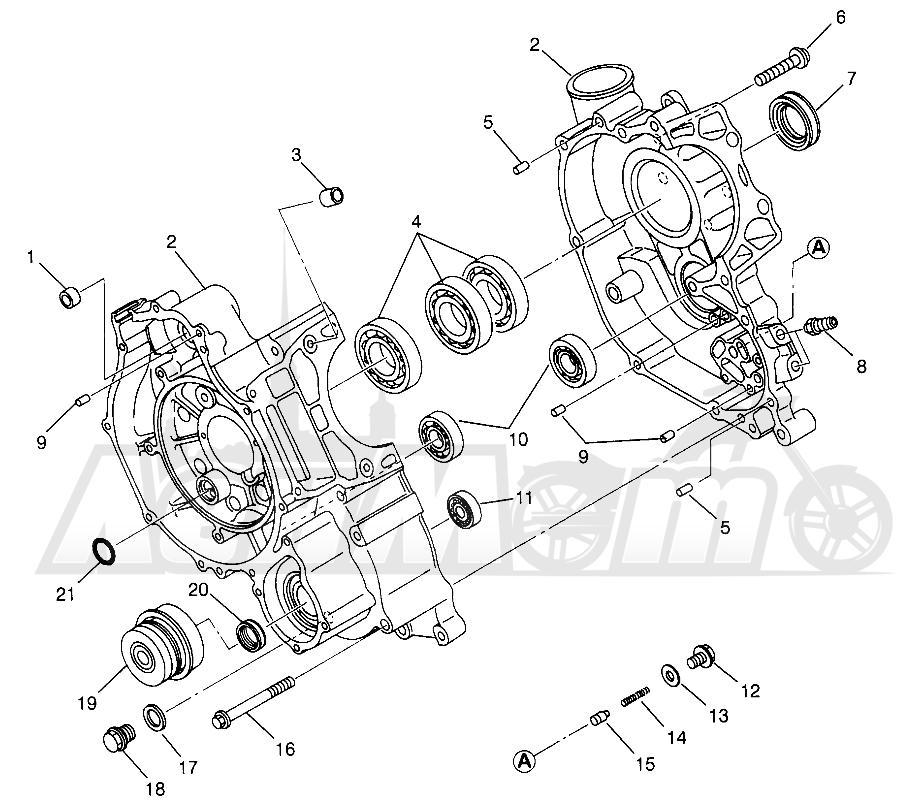 Запчасти для Квадроцикла Polaris 1996 MAGNUM 2X4 - W967544 Раздел: CRANKCASE MAGNUM 2X4 W967544 | картер MAGNUM 2X4 W967544
