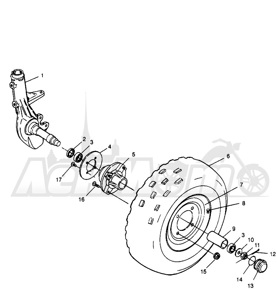 Запчасти для Квадроцикла Polaris 1996 MAGNUM 2X4 - W967544 Раздел: FRONT WHEEL MAGNUM 2X4 W967544 | переднее колесо MAGNUM 2X4 W967544