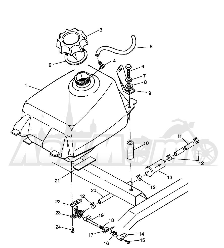 Запчасти для Квадроцикла Polaris 1996 MAGNUM 2X4 - W967544 Раздел: FUEL TANK MAGNUM 2X4 W967544 | топливный бак MAGNUM 2X4 W967544