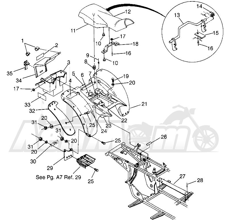 Запчасти для Квадроцикла Polaris 1996 MAGNUM 2X4 - W967544 Раздел: REAR CAB MAGNUM 2X4 W967544 | зад кабина MAGNUM 2X4 W967544