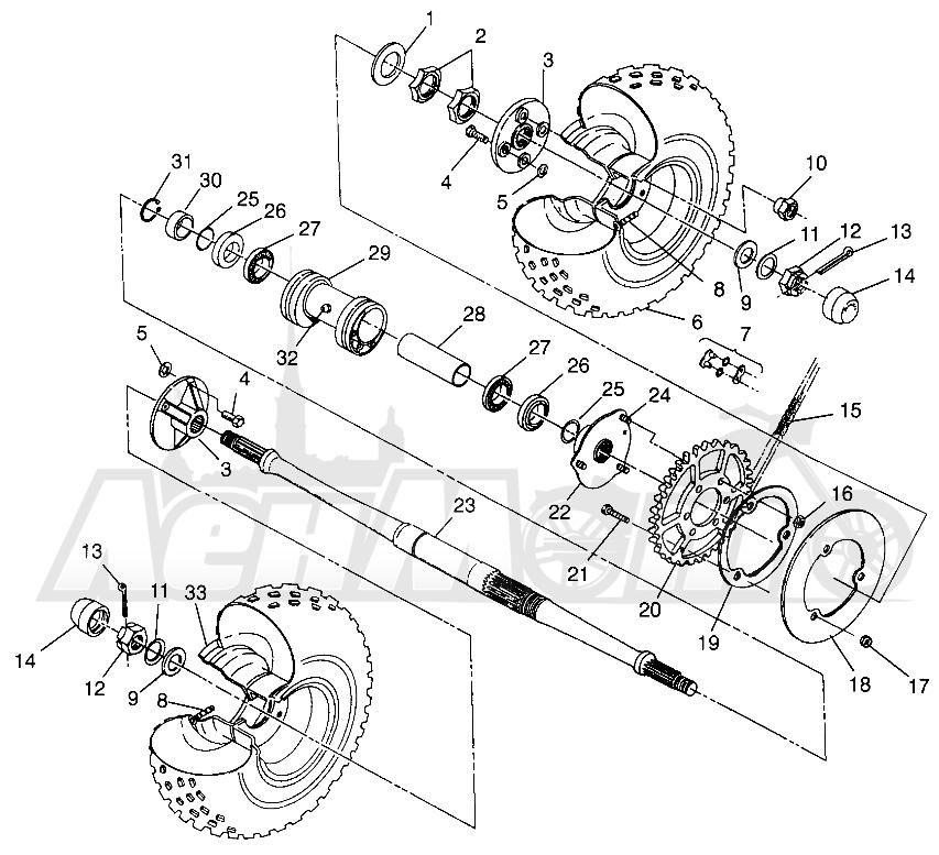 Запчасти для Квадроцикла Polaris 1996 MAGNUM 2X4 - W967544 Раздел: REAR WHEEL DRIVE MAGNUM 2X4 W967544 | заднее колесо привод MAGNUM 2X4 W967544