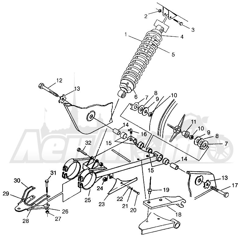 Запчасти для Квадроцикла Polaris 1996 MAGNUM 4X4 - W968144 Раздел: SWING ARM/SHOCK MOUNTING MAGNUM 4X4 W968144 AND SWEDISH MAGNUM 4X4 S968144   маятник/амортизатор крепления MAGNUM 4X4 W968144 и SWEDISH MAGNUM 4X4 S968144