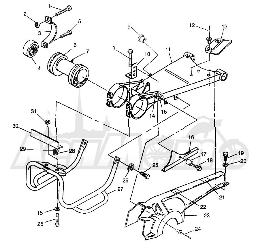 Запчасти для Квадроцикла Polaris 1996 MAGNUM 6X6 - W968744 Раздел: SWING ARM/GUARD MOUNTING MAGNUM 6X6 - W968744 AND MAGNUM 6X6 SWEDISH - S968 | маятник/защита крепления MAGNUM 6X6 W968744 и MAGNUM 6X6 SWEDISH S968
