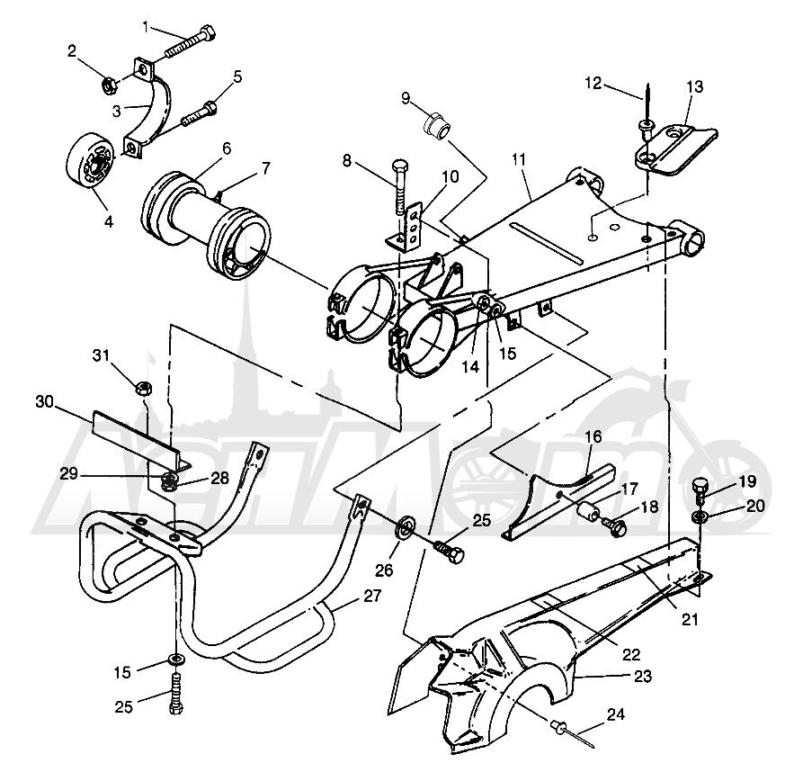 Запчасти для Квадроцикла Polaris 1996 NORWEGIAN 400L 6X6 - N968740 Раздел: SWING ARM/GUARD MOUNTING 6X6 400L - W968740 AND 6X6 400L NORWEGIAN - N9687 | маятник/защита крепления 6X6 400L W968740 и 6X6 400L NORWEGIAN N9687