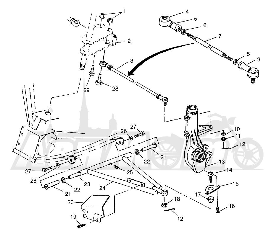 Запчасти для Квадроцикла Polaris 1996 SCRAMBLER - W967840 Раздел: A - ARM/STRUT MOUNTING SCRAMBLER W967840 | A рычаг/стойка крепления SCRAMBLER W967840
