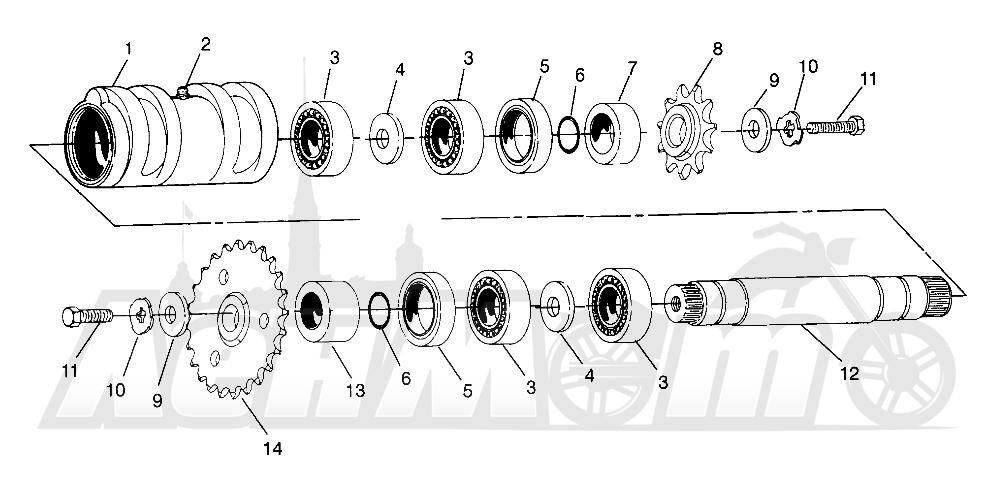 Запчасти для Квадроцикла Polaris 1996 SCRAMBLER - W967840 Раздел: CENTER TIGHTENER SCRAMBLER W967840 | центр натяжное устройство SCRAMBLER W967840