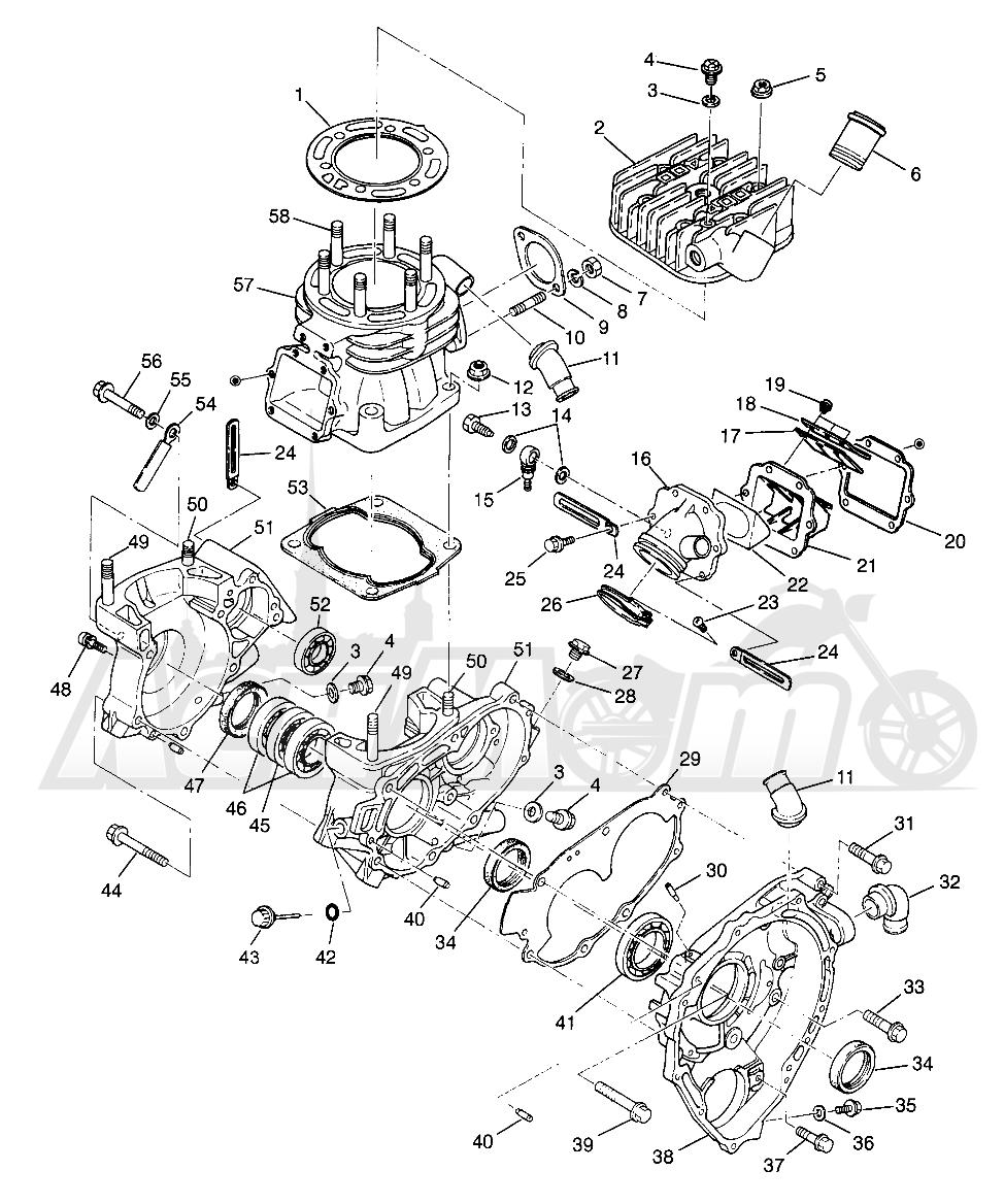 Запчасти для Квадроцикла Polaris 1996 SCRAMBLER - W967840 Раздел: CRANKCASE AND CYLINDER SCRAMBLER W967840 | картер и цилиндр SCRAMBLER W967840