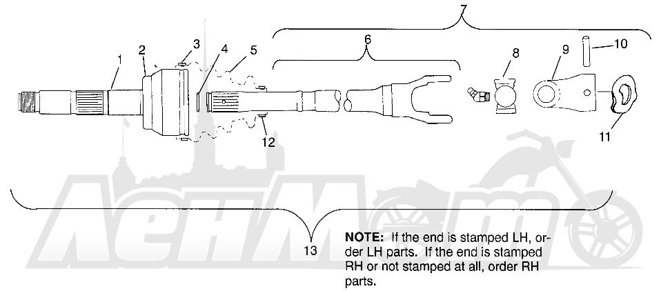 Запчасти для Квадроцикла Polaris 1996 SCRAMBLER - W967840 Раздел: CV JOINT - NEAPCO PARTS SCRAMBLER W967840   шрус NEAPCO детали SCRAMBLER W967840