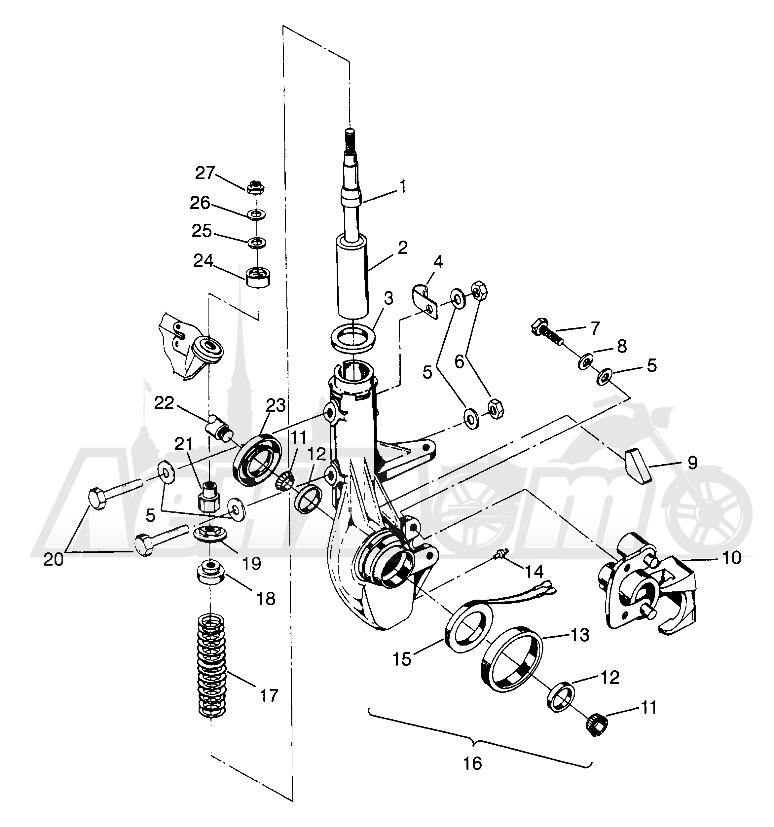 Запчасти для Квадроцикла Polaris 1996 SCRAMBLER - W967840 Раздел: FRONT STRUT SCRAMBLER W967840 | перед стойка SCRAMBLER W967840