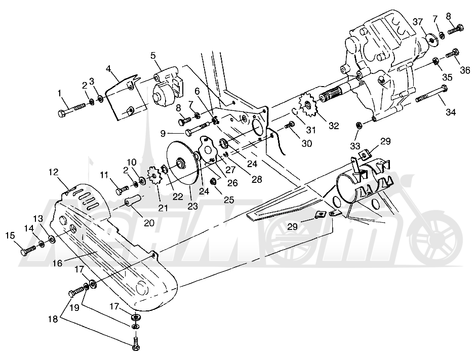 Запчасти для Квадроцикла Polaris 1996 SCRAMBLER - W967840 Раздел: GEARCASE/BRAKE AND CHAIN COVER MOUNTING SCRAMBLER W967840 | коробка передач/тормоза и цепь крышка крепления SCRAMBLER W967840