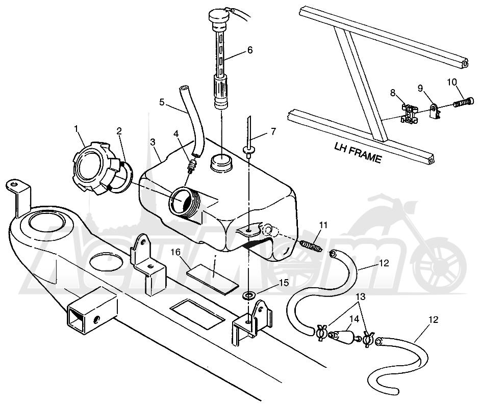 Запчасти для Квадроцикла Polaris 1996 SCRAMBLER - W967840 Раздел: OIL TANK SCRAMBLER W967840 | маслобак SCRAMBLER W967840