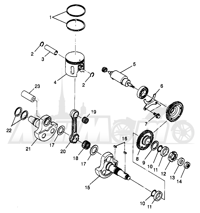 Запчасти для Квадроцикла Polaris 1996 SCRAMBLER - W967840 Раздел: PISTON AND CRANKSHAFT SCRAMBLER W967840 | поршень и коленвал SCRAMBLER W967840